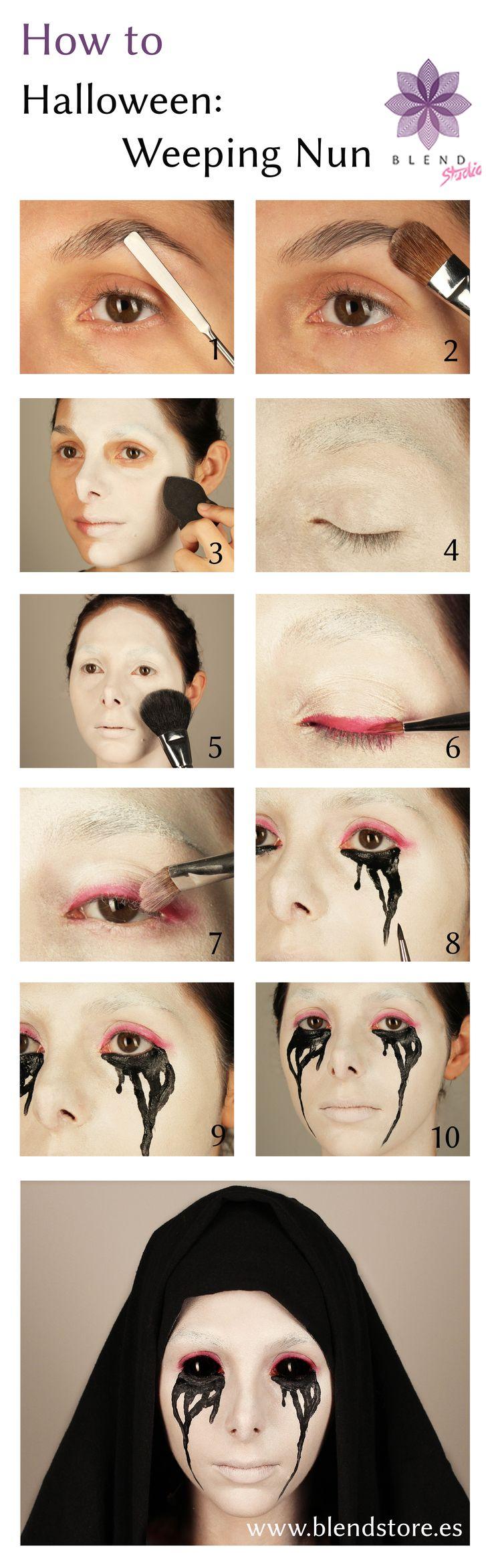 American Horror Story inspired Halloween Weeping Nun Makeup Tutorial from Blend Store & Studio