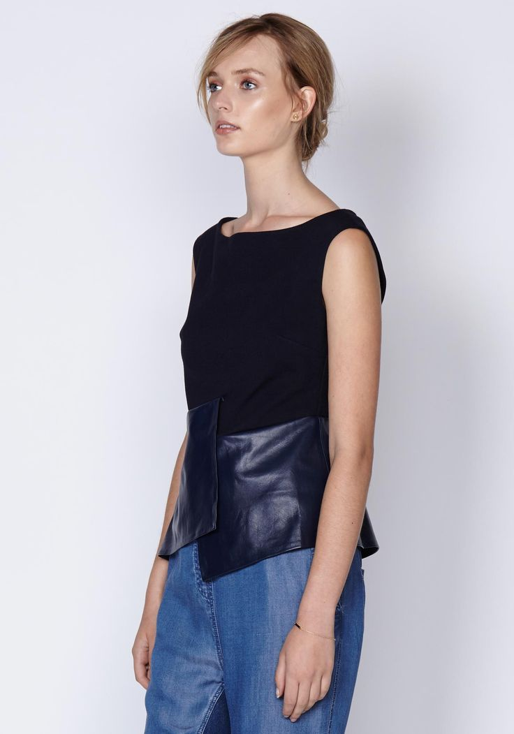 Wrapped Leather Peplum Ponte Top In Ink | New In | Shop the latest women's fashion at Oncewas