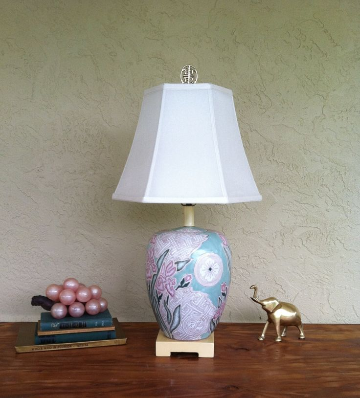 Table Lamp, Asian Lighting, Chinoiserie Home decor/Pink, Turquoise Blue,Ceramic w/Orchids, Floral motif. Brass Asian Symbol Finial Included. by RetroStampedRare on Etsy