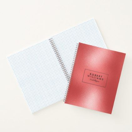 Modern Red Shiny Abstract Background Notebook  $18.95  by artOnWear  - custom gift idea