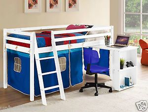 Kids Cabin BED MID Sleeper Wooden Pine Cabin BED With Desk AND Ladder | eBay