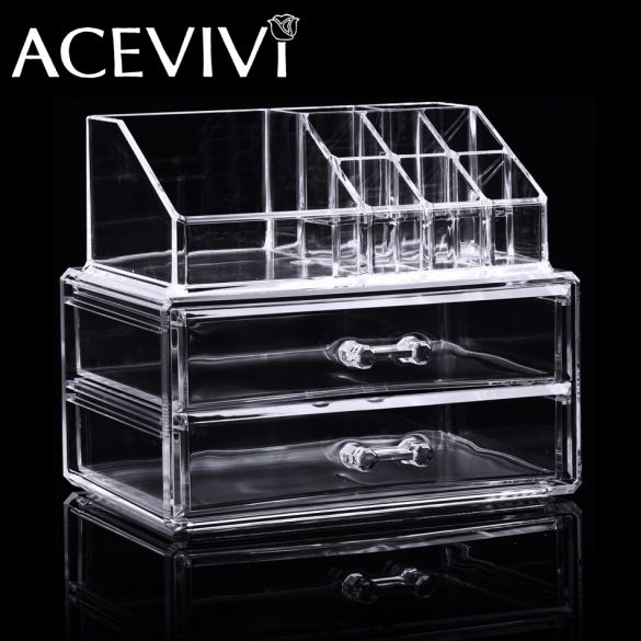 2016 New Freeship in USAcrylic Jewelry Makeup Cosmetics Organizer Drawers Tabletop Display Storage Box Clear New
