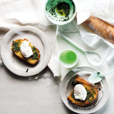 Taste Mag | Poached eggs with panfried bread and pesto @ http://taste.co.za/recipes/poached-eggs-with-panfried-bread-and-pesto/