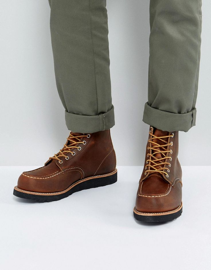 Get this Red Wing's cowboy boots now! Click for more details. Worldwide shipping. Red Wing 6 Inch Classic Moc Toe Leather Boots In Copper - Brown: Boots by Red Wing, Leather upper, Lace-up fastening, Round toe, Stitch detail, Moulded tread, Treat with a leather protector, 100% Real Leather Upper. Founding the Red Wing shoe company in 1905, Charles Beckman produced purpose-built work boots tough enough for the factory floor or construction site. Retaining the same Red Wing durability and…