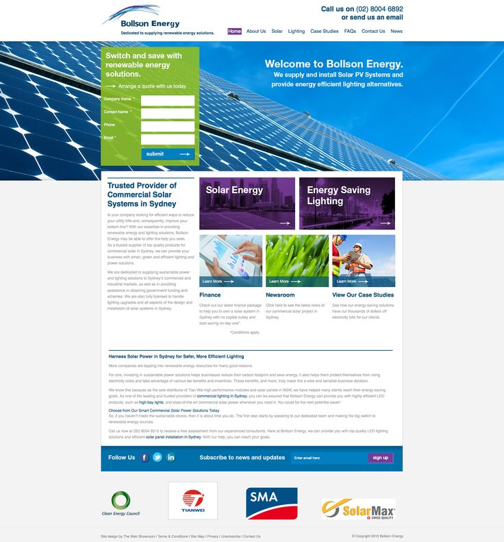 Bollson Energy. Specialising in providing renewable energy solutions to Sydney's commercial and industrial market. As an Australian owned solar company, Bollson provides its customers with a complete solar solution and are fully licensed to handle all aspects of design and installation of solar PV systems and government rebate programs.