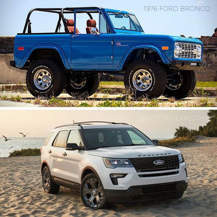 Tbt 1976 Ford Bronco Vs 2019 Ford Explorer 2019 Ford Explorer Ford Bronco Ford Explorer