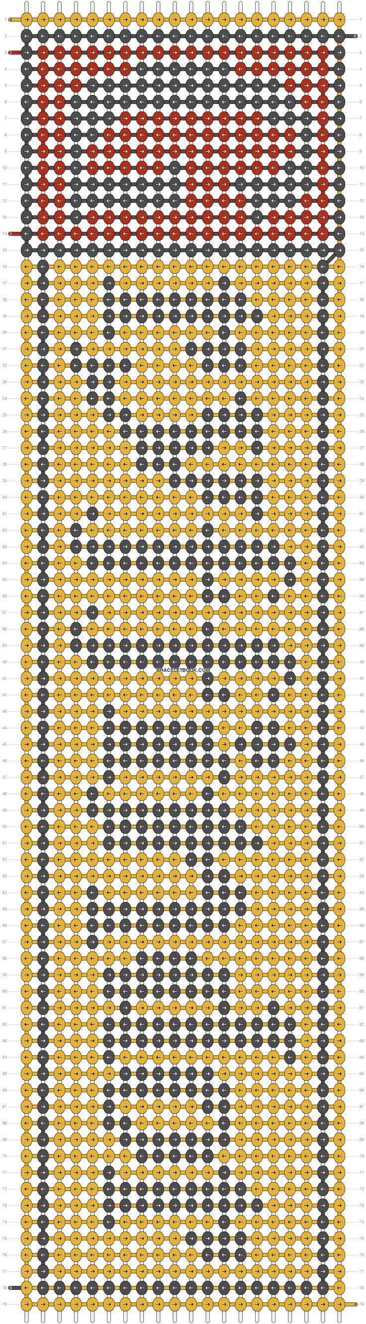 Alpha Pattern #10846 added by blueisbest | Gryffindor Hogwarts House - Harry Potter Friendship Bracelet