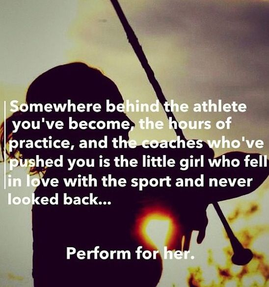 "Change the background (and the ""perform"" to ""play"") and it could be for any sport!"
