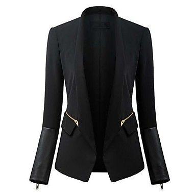 nueva cremallera de costura de la manga de cuero traje chaqueta abrigos y chaquetas para mujeres – USD $ 34.99