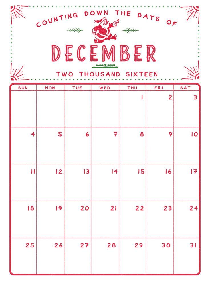 December 2016 printable calendar                                                                                                                                                                                 More