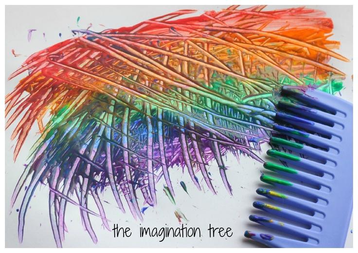 rainbow comb painting