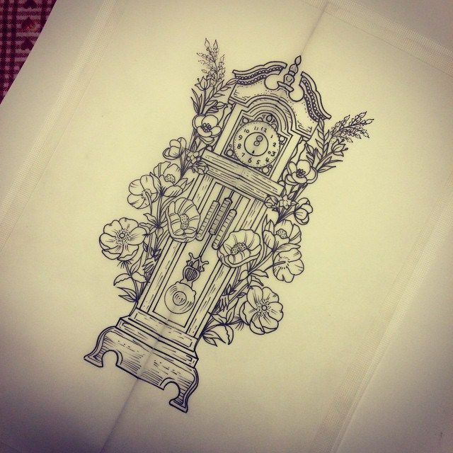 Artist – Ruth Rollin | red tattoo and piercing. I'd make it more like deaths grandfather clock. Only one hand, make the pendulum a scythe, add 2 candles at the top, and a tiny death of rats peaking out