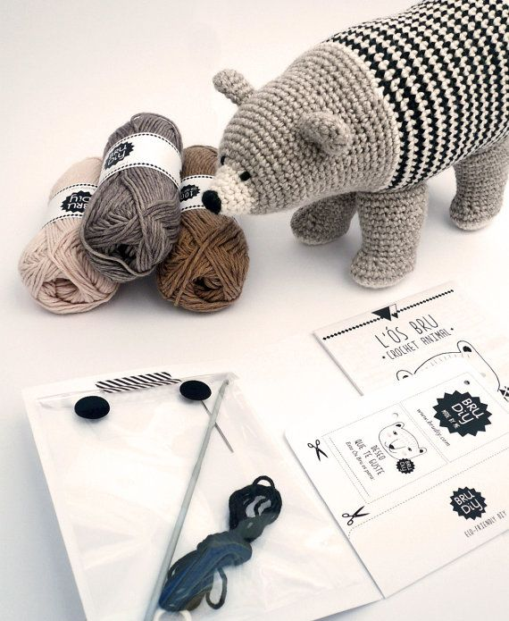 DIY Pack / Patrón oso de ganchillo de algodón ecológico por BruDiy