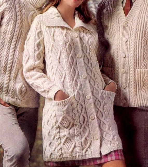 Hand knitted cardigan Aran Knit sweater Cable knit coat by Pilland