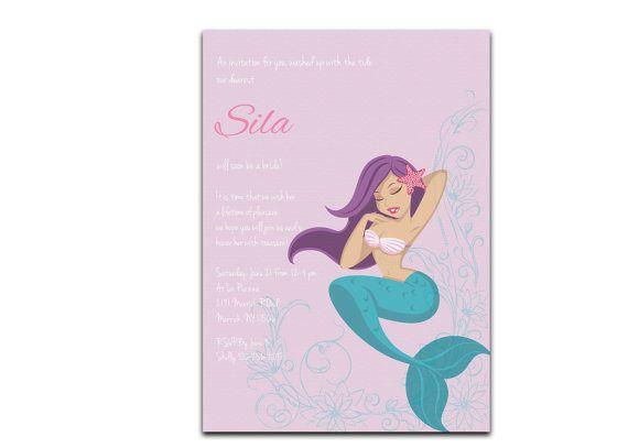 Mermaid Bridal Shower Invitation  Nautical Wedding Shower