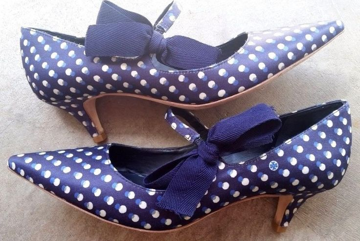 Tory Burch Navy White Polka Dot Fabric Mary Jane  kitteen Heel Pump Shoe Bow 7.5 | Clothing, Shoes & Accessories, Women's Shoes, Heels | eBay!