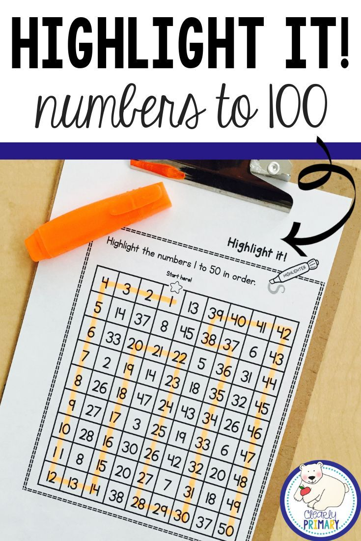 Numbers To 100 Highlight It Learning Numbers Kindergarten
