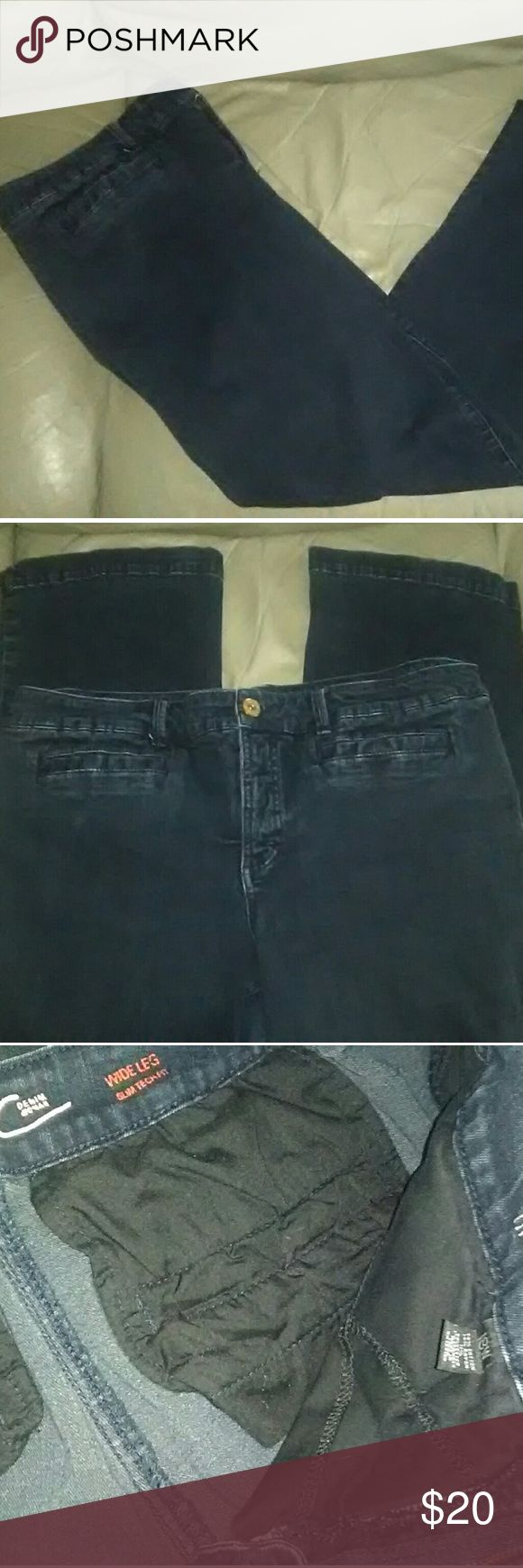 INC Woman Denim Wide Leg Jeans Sz 18W NWOT! INC (International Concepts) Woman Denim Slim Tech Fit Wide Leg Jeans NWOT!  Color:  Faded Midnight Material: 74% Cotton, 14% Rayon, 11% Polyester, And 1% Spandex Size: 18W Measurements: 20 Waist, 23 Hips, 31 Length/Inseam, And 11 Rise INC International Concepts Jeans Flare & Wide Leg