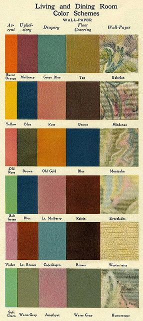Color schemes for living and dining rooms from the 1920s -- get the lovely vintage look. | flickr.com Photo from Daily Bungalow: Dining Rooms, Rooms Colour, Colors Palettes, Colors Schemes, Rooms Colors, Colour Palettes, 1920 S Colors, Colour Schemes, 1920S Colors