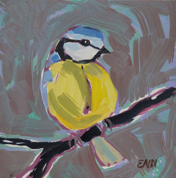 Original oil bird painting / Blue Titmouse by NielsenDenmark