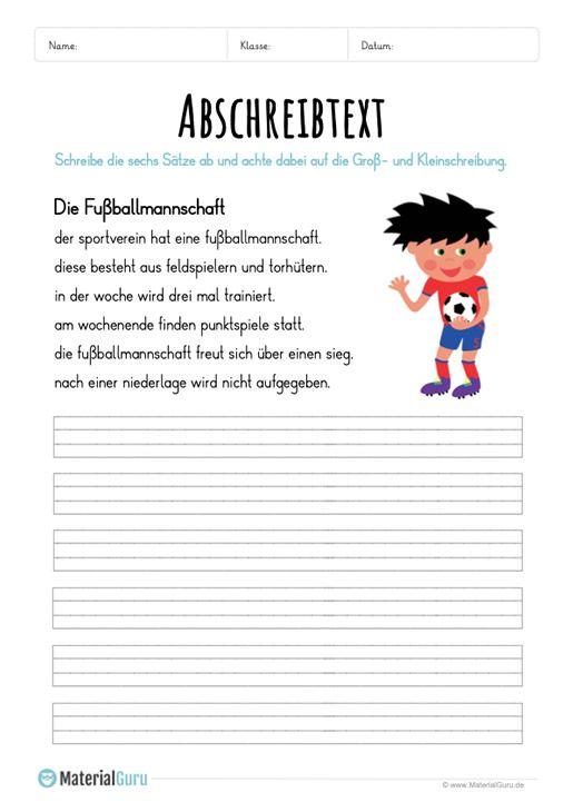 arbeitsblatt text abschreiben die fu ballmannschaft deutsch abschreibtexte schule. Black Bedroom Furniture Sets. Home Design Ideas