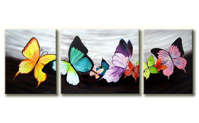 Drieluik canvasschilderij met een aantal fel gekleurde vlinders.echt een voorjaar of zomerschilderij.