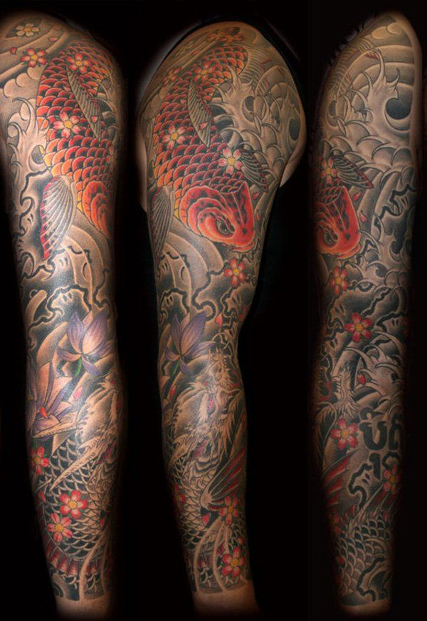 Dragon Koi fish Sleeve - 80+ Awesome Examples of Full Sleeve Tattoo Ideas | Art and Design
