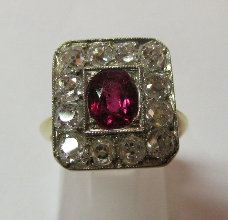18ct Yellow Gold Ruby & Diamond Art Deco Style Ring