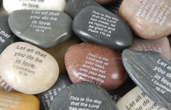 Imprinted Christian Scripture River Rocks...going to try making these with the mod podge tile coaster technique...