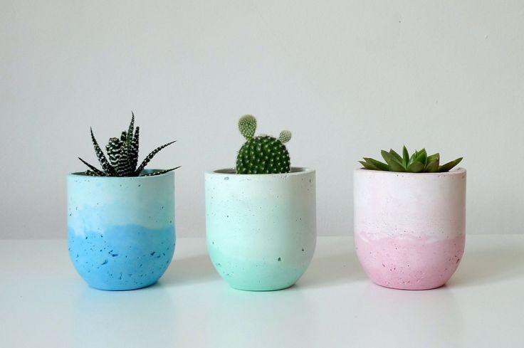 Concrete planter / Pastel planter / Indoor flower pot / Concrete jar / Concrete pot / Concrete stationery holder / Concrete flower pot by TrendBolt on Etsy