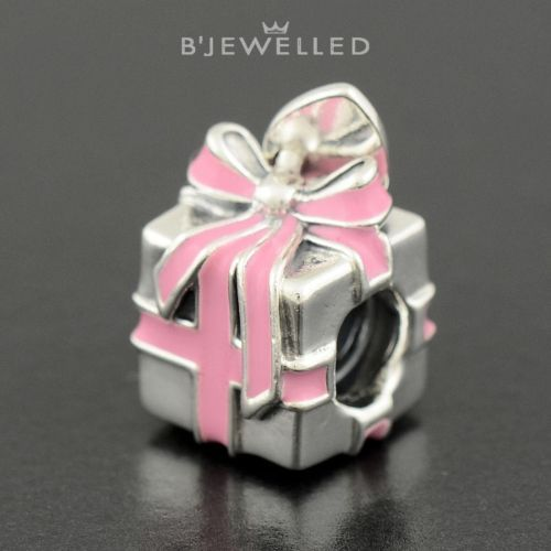 Authentic Genuine Pandora Silver Wrapped with Love Pink Enamel - 791132EN24