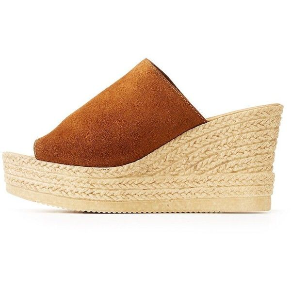 Bamboo Faux Suede Espadrille Wedge Sandals (271.100 IDR) ❤ liked on Polyvore featuring shoes, sandals, brown, brown espadrilles, brown shoes, wedge heel espadrilles, bamboo shoes and espadrille wedge shoes