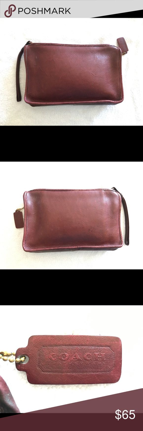 Coach Vintage Burgundy Leather Clutch New York USA Coach Vintage Burgundy Leather Clutch - made in New York!  Gorgeous burgundy leather   Thick brass zipper  Brass rings on the sides for a strap (not included) Coach Bags Clutches & Wristlets