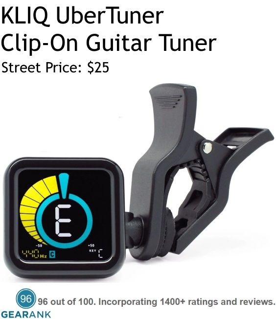 KLIQ UberTuner - Clip-on guitar, bass, violin, ukulele and chromatic tuner. Tuning Accuracy: ±1 cent. Tuning Range: A0 (27.50 Hz) - C8 (4,186 Hz).  For a detailed guide to The Best Guitar Tuners see https://www.gearank.com/guides/guitar-tuners