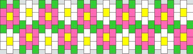 Pink And Qhite Daisy Cuff Kandi Pattern