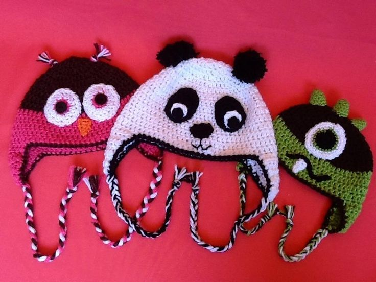 Animal beanies! See Handmade Treasures on Facebook for more!!