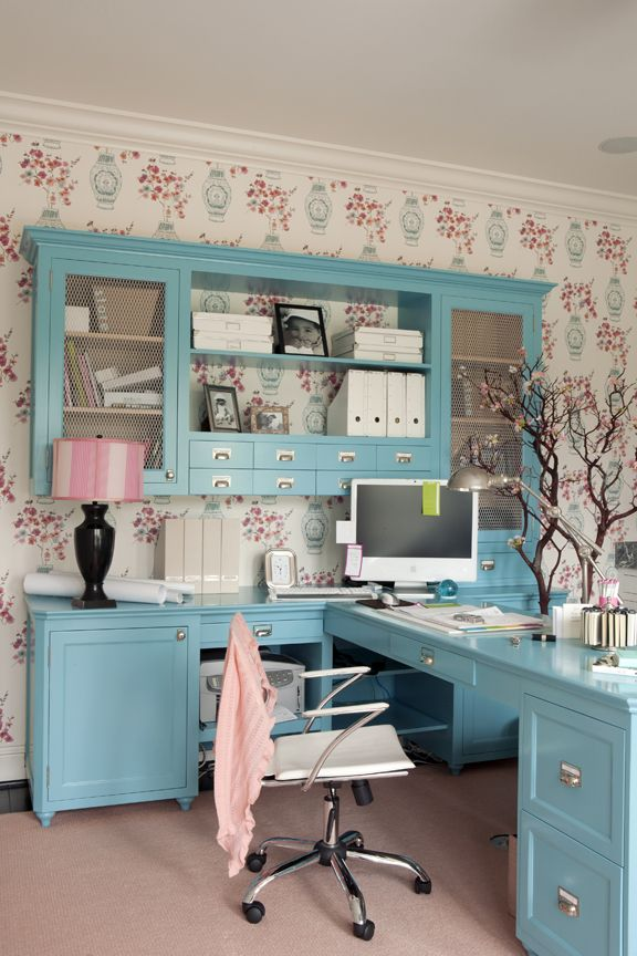 Office in blue in pink: I love the beautiful blue desk, the whole space has such an uplifting feel.