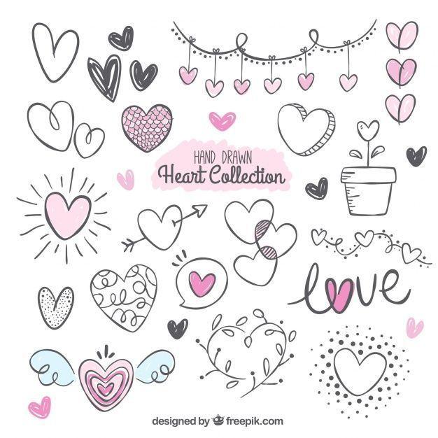 Kostenloser Download Vektor von Fantastische Packung mit Vielzahl von handgezeichneten Herzen