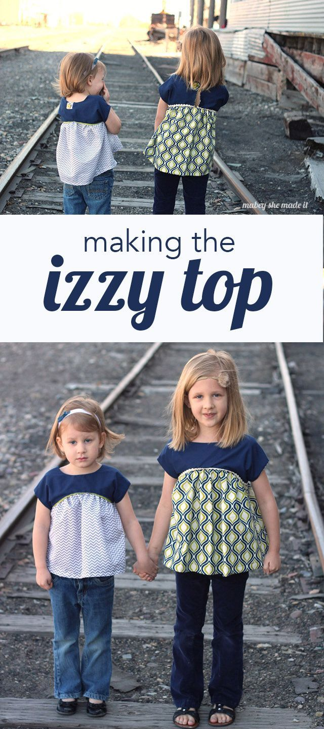 The Izzy top is a free pattern you have to try out for girls. | Mabey She Made It | #izzytop #sewing #kidsclothes
