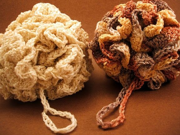 The Perfect Loofah crochet pattern - no more cheepy loofahs that fall apart after two uses and can be washed in the laundry!  -- This is a fun pattern to make, but you have to use the exact kind of yarn she uses or it will just turn into a big soggy blob in the shower.