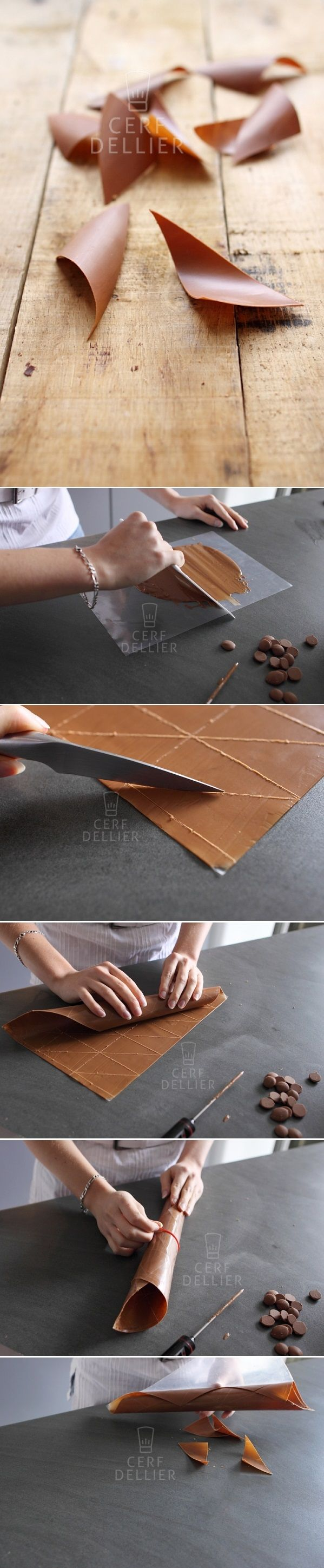 Cerf Dellier has a great collection of chocolate decoration tutorials.  The blog is in French but the photos there are pretty self-explanatory :)
