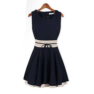 ShangYa Women's Western Ruffles Spell Color Waisting Sleeveless Dress(Navy Blue) – EUR € 11.54