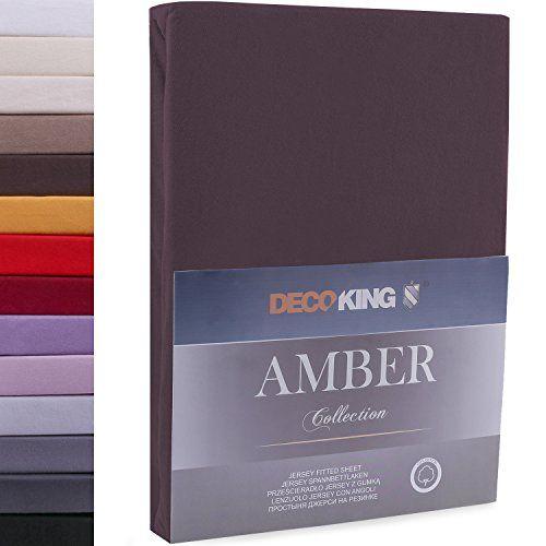 DecoKing Drap-Housse en 100% Coton Peigné Jersey, Amber Collection, 160x200 - 180x200 cm, Marron Chocolat #DecoKing #Drap #Housse #Coton #Peigné #Jersey, #Amber #Collection, #Marron #Chocolat