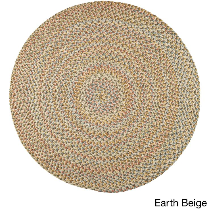 Cozy Cove Indoor/Outdoor Round Braided Rug (4' x 4') by Rhody Rug (Earth Beige), Size 4' x 4' (Nylon, Border)