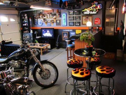 Are you looking for ideas about what to do with your garage? Why not turn it into a bar with the best theme, Harley-Davidson! Click the link to view the entire design of this garage bar. Harley Davidson Garage Bar a Very Masculine Work of Art -------------------------------