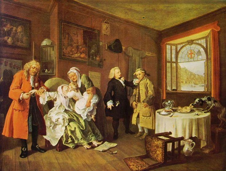 Matrimonio alla moda (6) - Morte di lei, William Hogarth; 1744; olio su tela; National Gallery, Londra