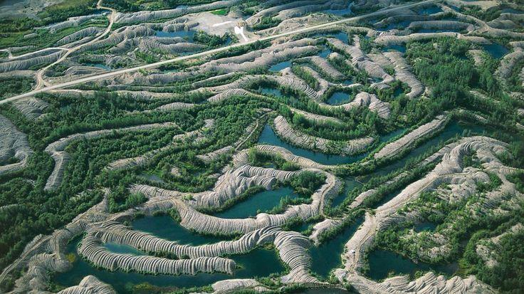 Aerial view of goldfield of the Klondike River near Dawson, Yukon, Canada