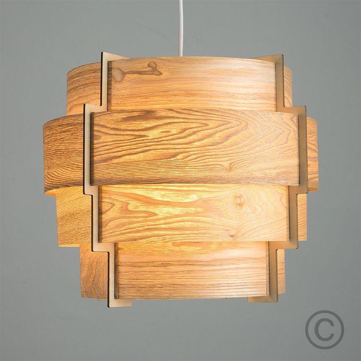 Modern Designer Retro Persia Wood Veneer Round Stepped Drum Ceiling Pendant Light Shade: Amazon.co.uk: Lighting