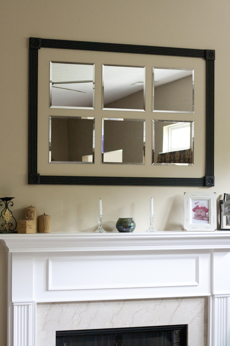 Custom frame around beveled mirrors for above the mantel....weekend project success!