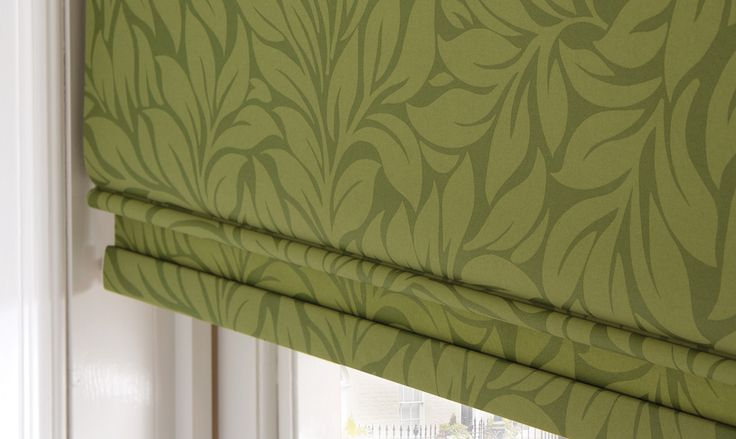 Olive Green Roman Blinds with leaf detail http://www.martinsblindsandawnings.co.uk/blinds-northampton/roman-blinds/